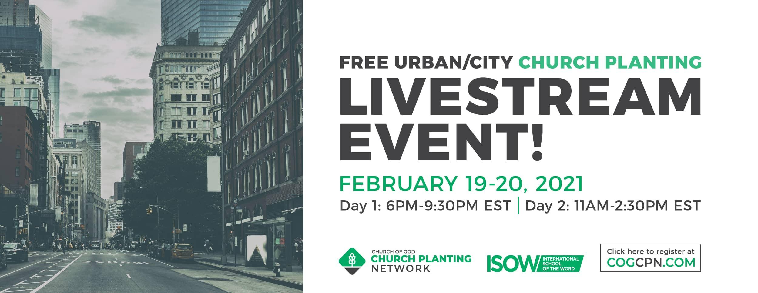 Free Urban Church Planting Livestream 2/19 - 2/20, Online Bible study course