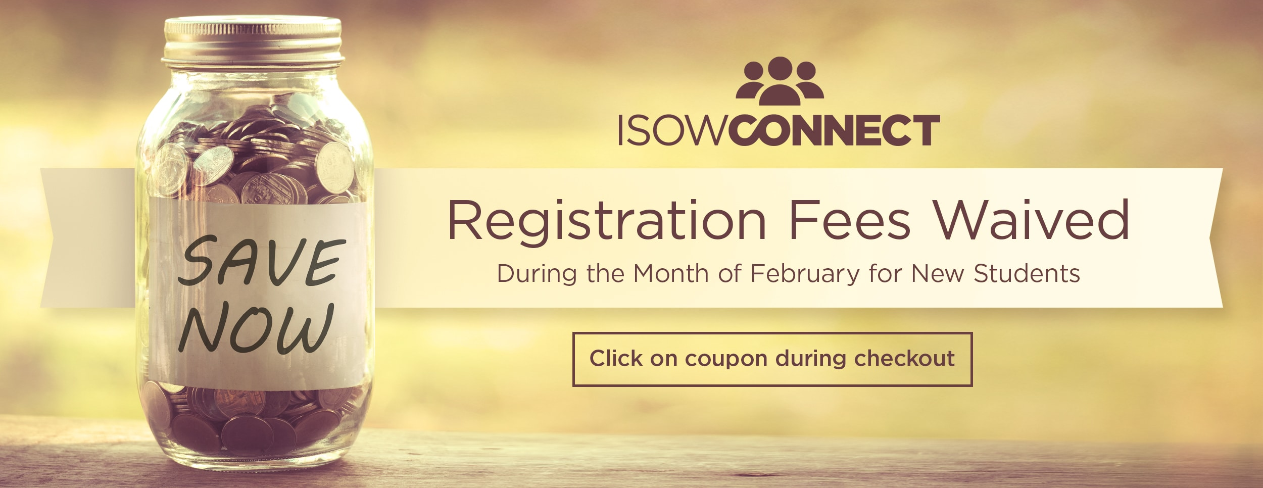 ISOW Connect Waived Registration Fees Sale – Website Banner